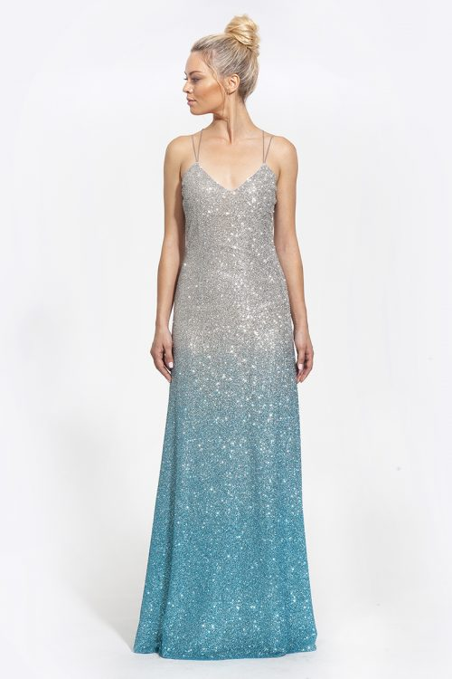 1Κωδικός-2003--570€--φόρεμα maxi με γκλίτερ ασημί γαλάζιο (1)