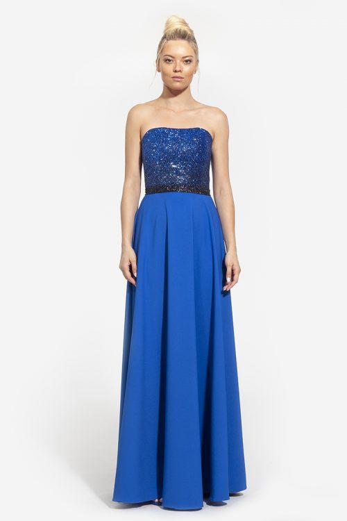 4κωδικός 3002--417€--στράπλες φόρεμα με αποσπόμενες τιράντες και ζώνη γκλίτερ μπλε (1)