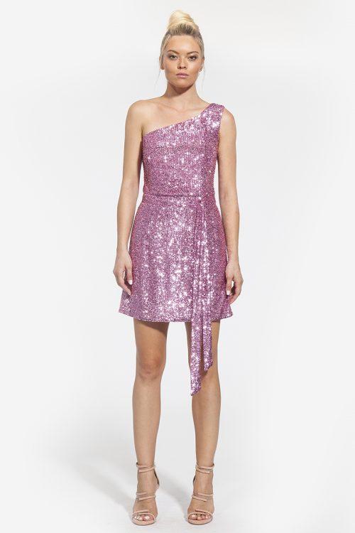 5-κωδικός 4006 -- 324€ -- παγιέτα μινι φόρεμα με έναν όμω ροζ διατίθεται και σε ασημί (1)