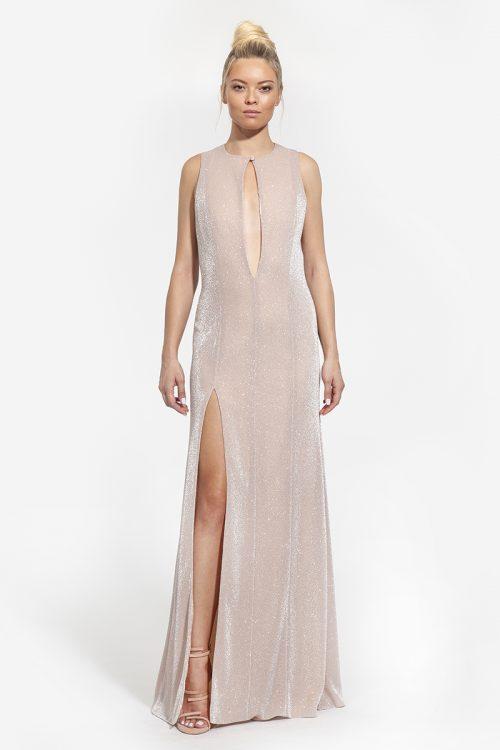 8 - κωδικός 4001 - 426€ -- maxi φόρεμα με σκίσιμο και άνοιγμα στο κέντρο ροζ πούδρα (1)